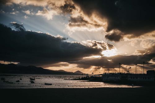 Coucher de soleil à Las Canteras Las Palmas de Gran Canaria