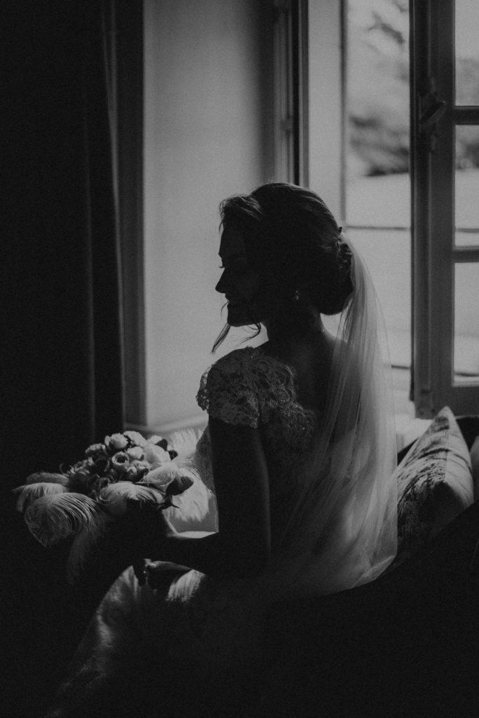 Mariage Art déco Granville robe de mariée noir et blanc